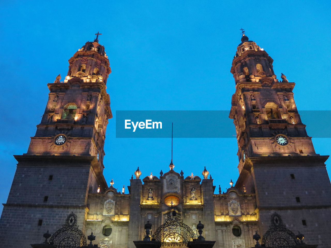 Low angle view of morelia cathedral against clear sky