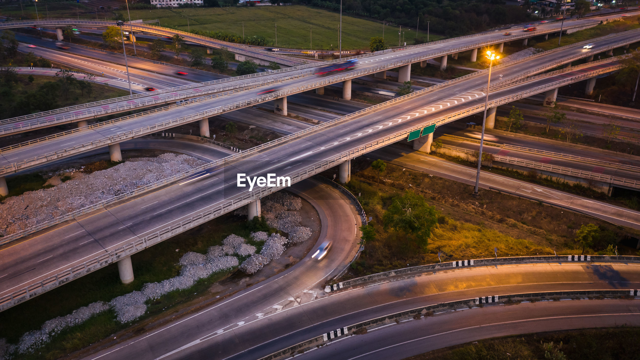 High angle view of light trails on elevated road