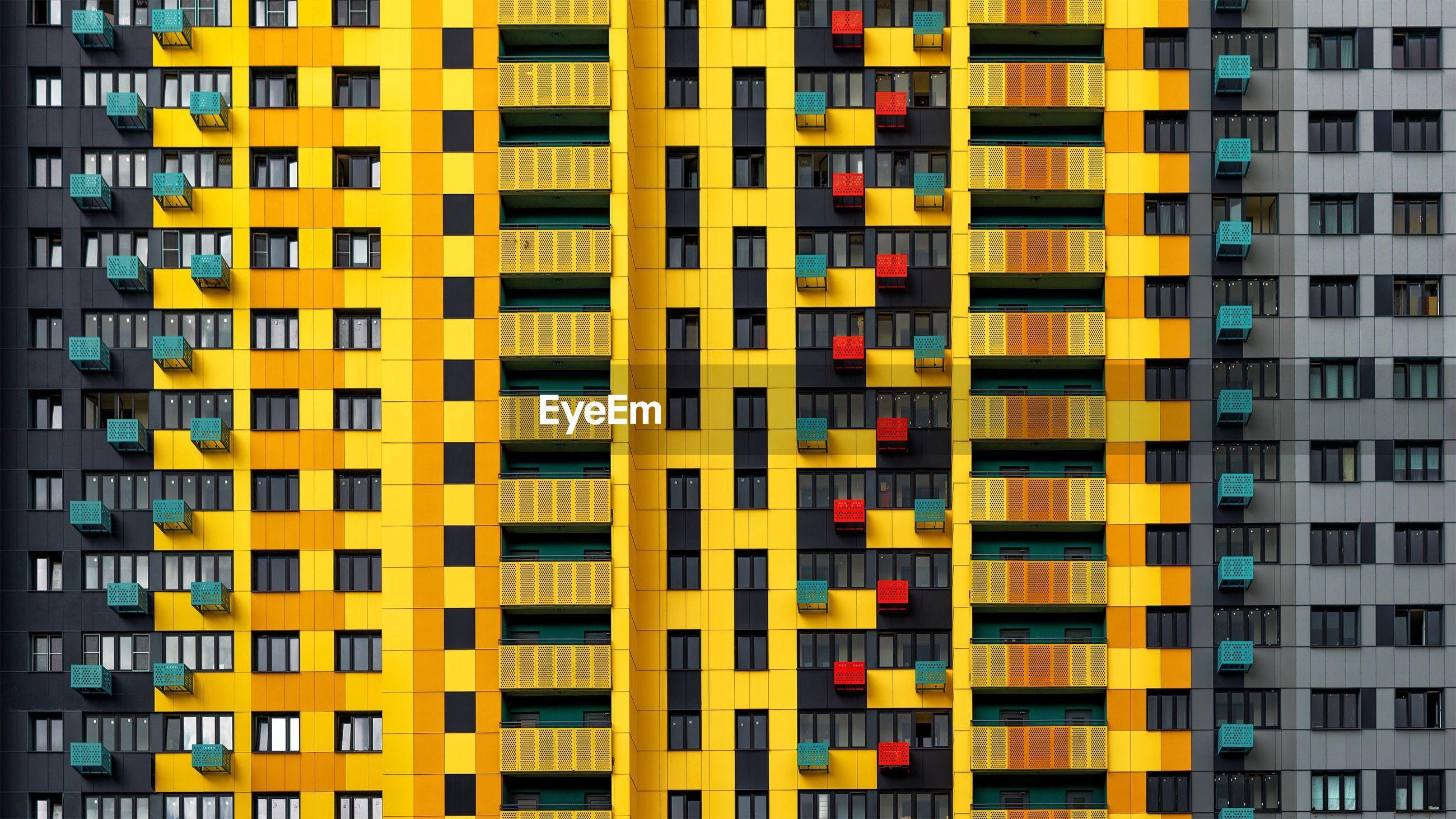 Full frame shot of multi colored building