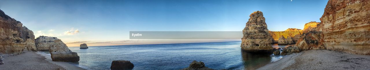 PANORAMIC VIEW OF FAMOUS BEACH IN PORTUGAL