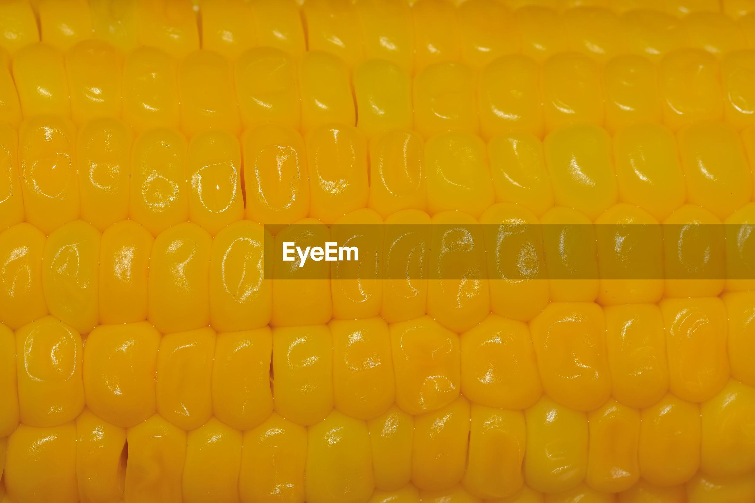 Full frame shot of corn on the cob