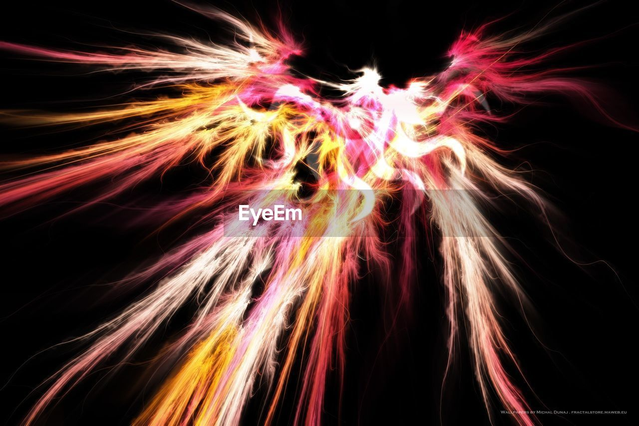 night, long exposure, illuminated, no people, motion, flame, black background, multi colored, outdoors, close-up