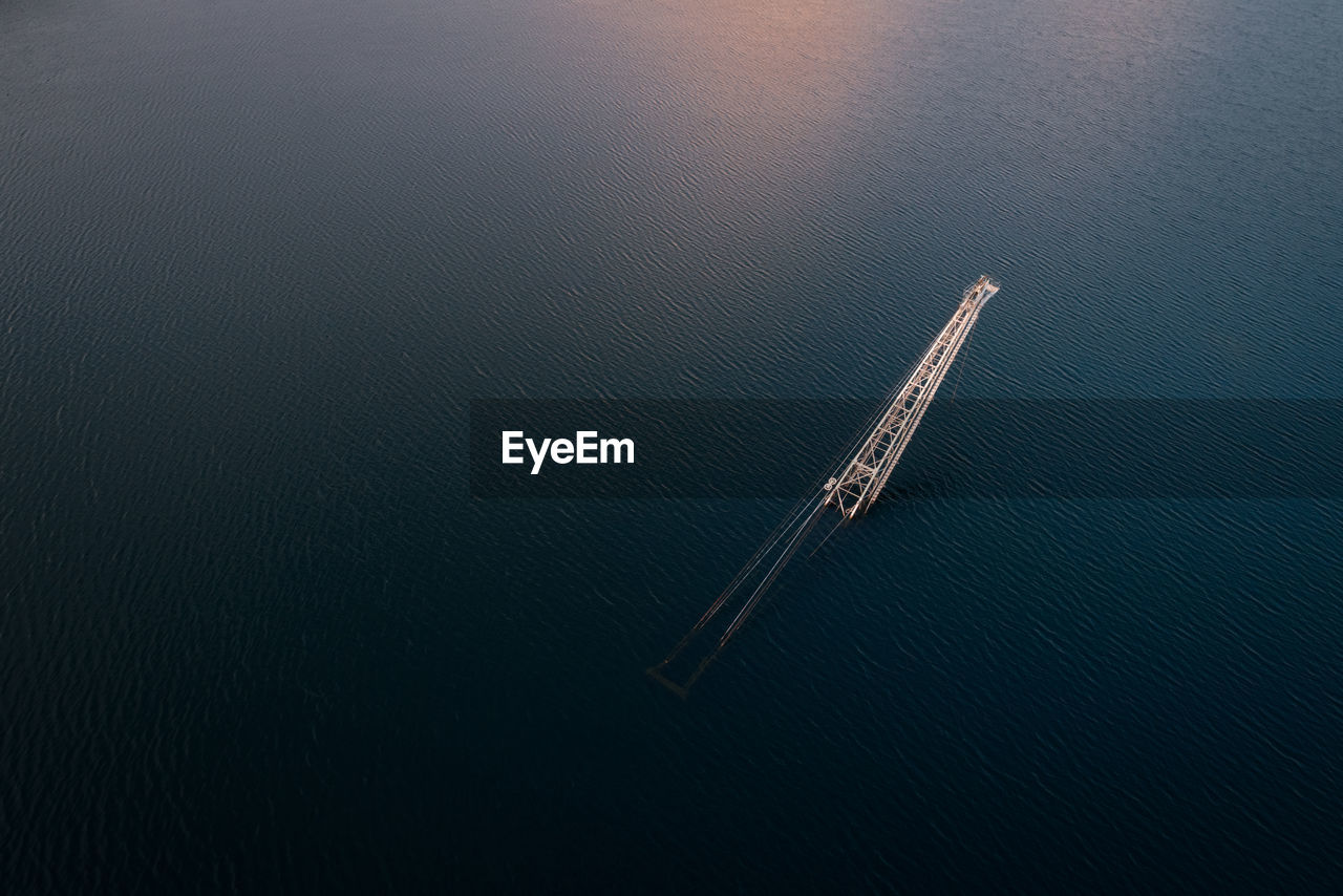 Aerial View Of Crane In Sea