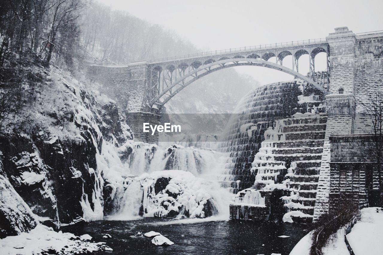 Bridge Over River Against Mountain