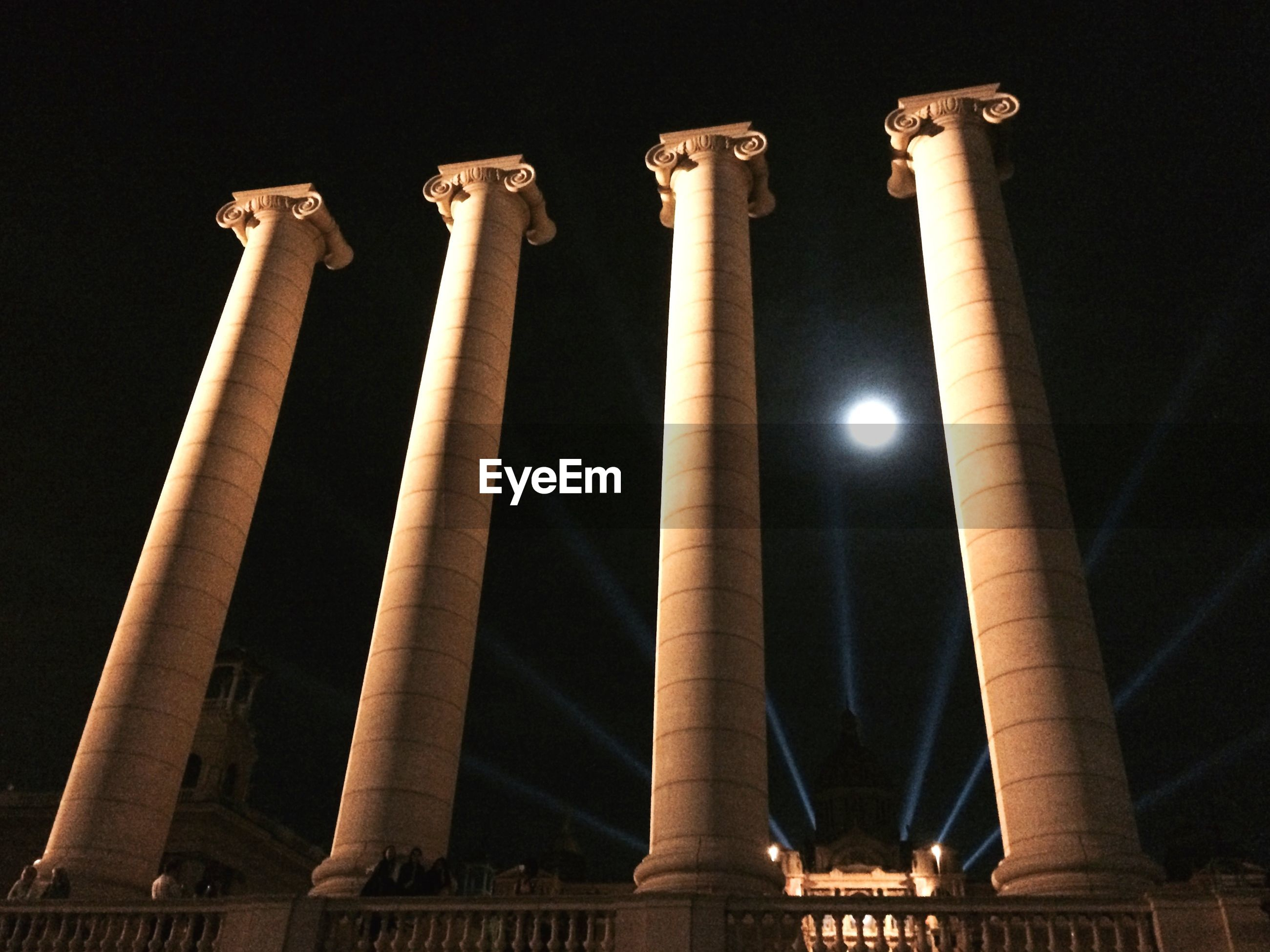 Low angle view of four columns