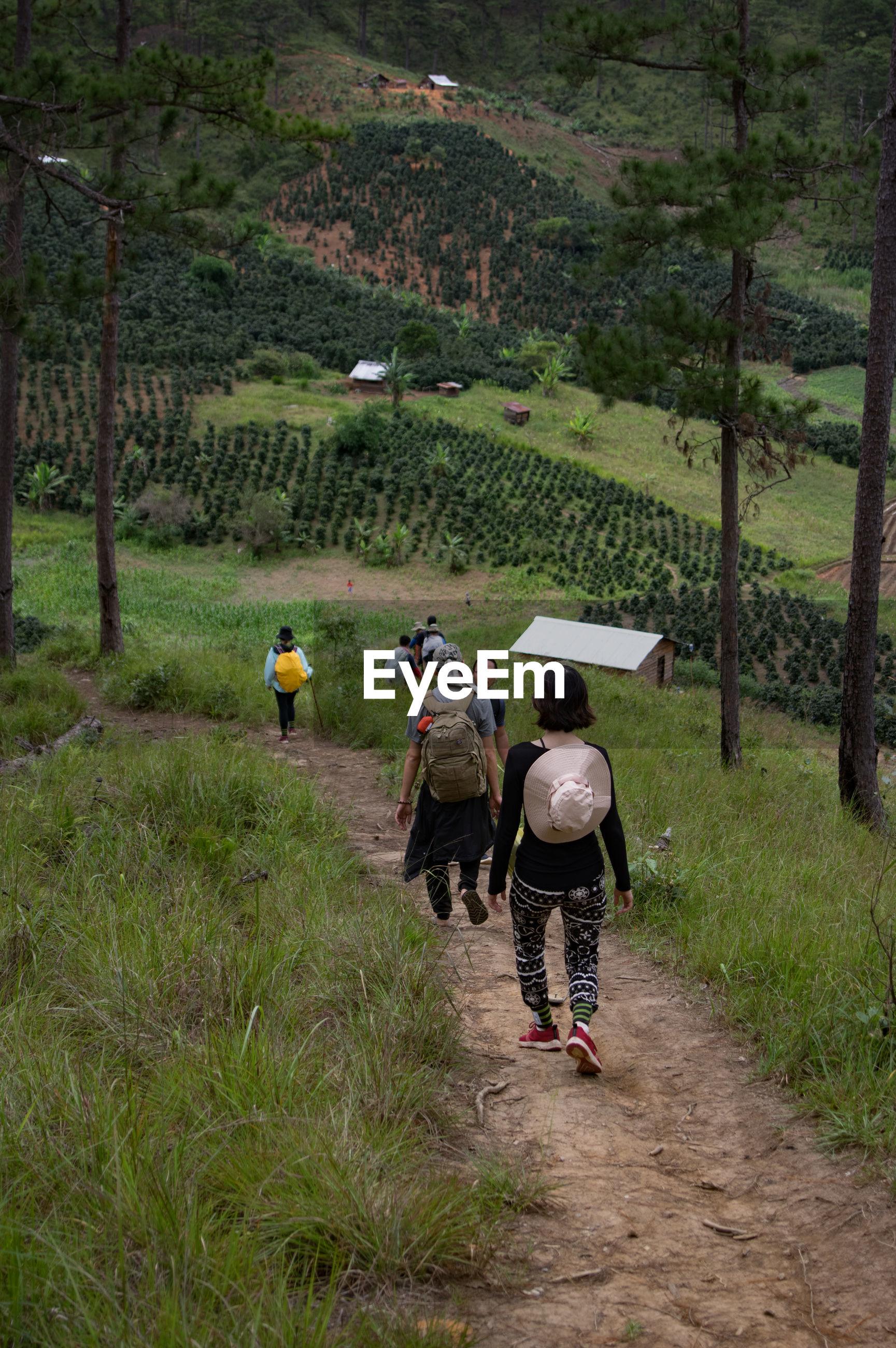 People walking on landscape