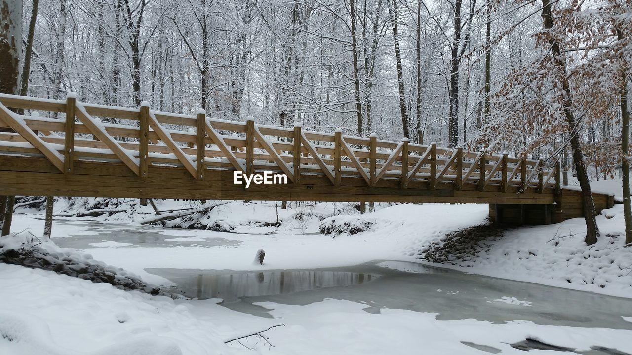 Wooden bridge over frozen river in forest