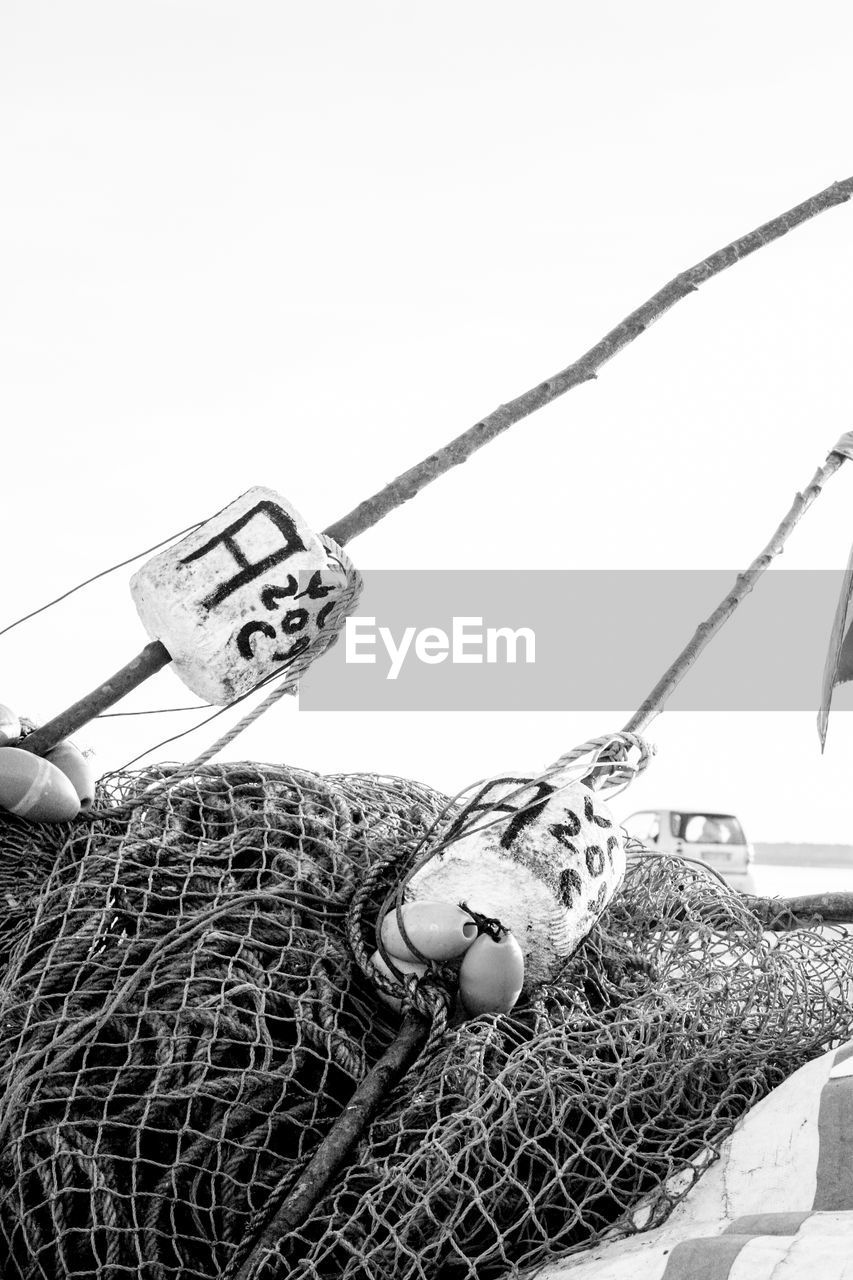 fishing net, fishing tackle, day, outdoors, no people, nautical vessel, close-up, clear sky