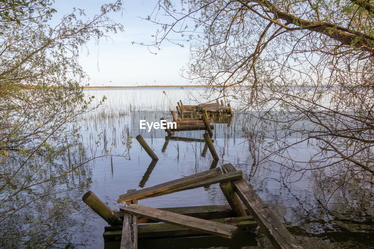 water, tree, wood - material, nature, plant, no people, lake, tranquility, day, architecture, bare tree, sky, reflection, outdoors, tranquil scene, built structure, pier, scenics - nature, non-urban scene