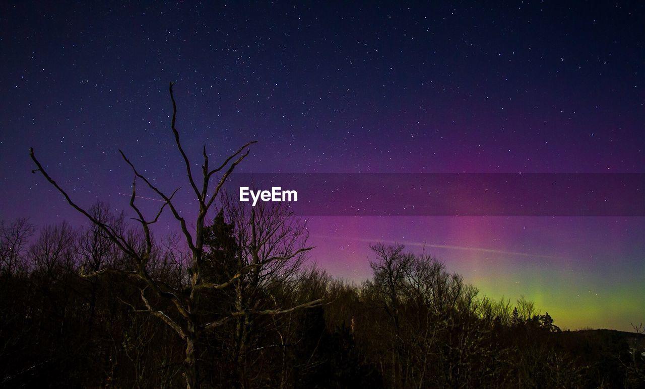 Scenic View Of Landscape Against Purple Sky