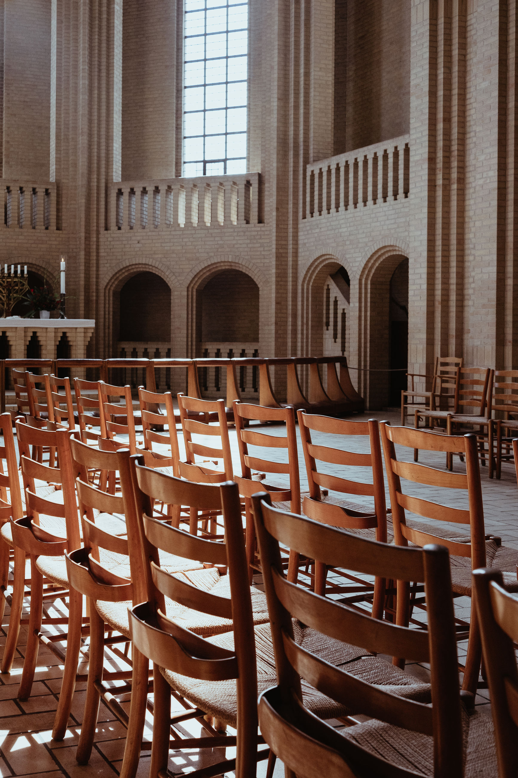 Wooden chairs in church