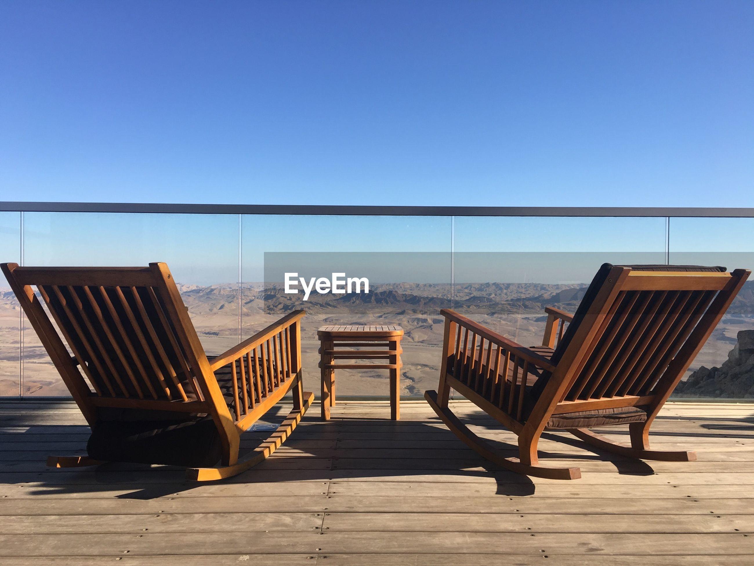 Rocking chairs on balcony