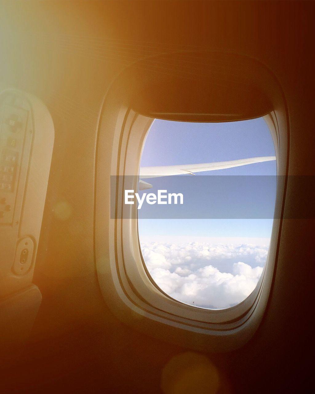Airplane seen through window