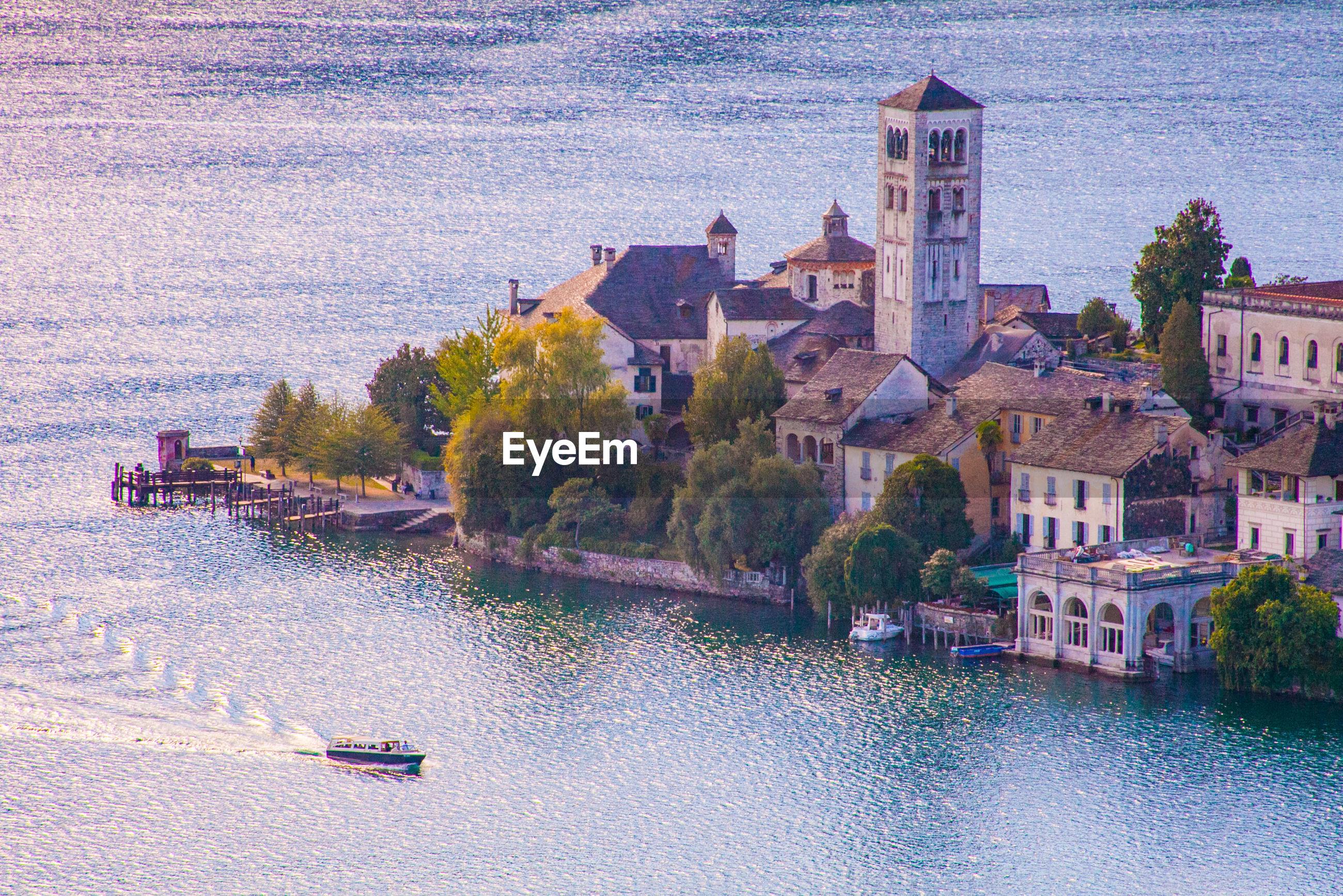 Scenic view of isola san giulio inside orta's lake, piemonte, italy.