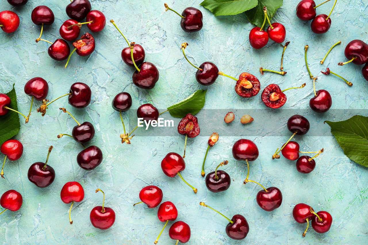 Directly above shot of cherries on table