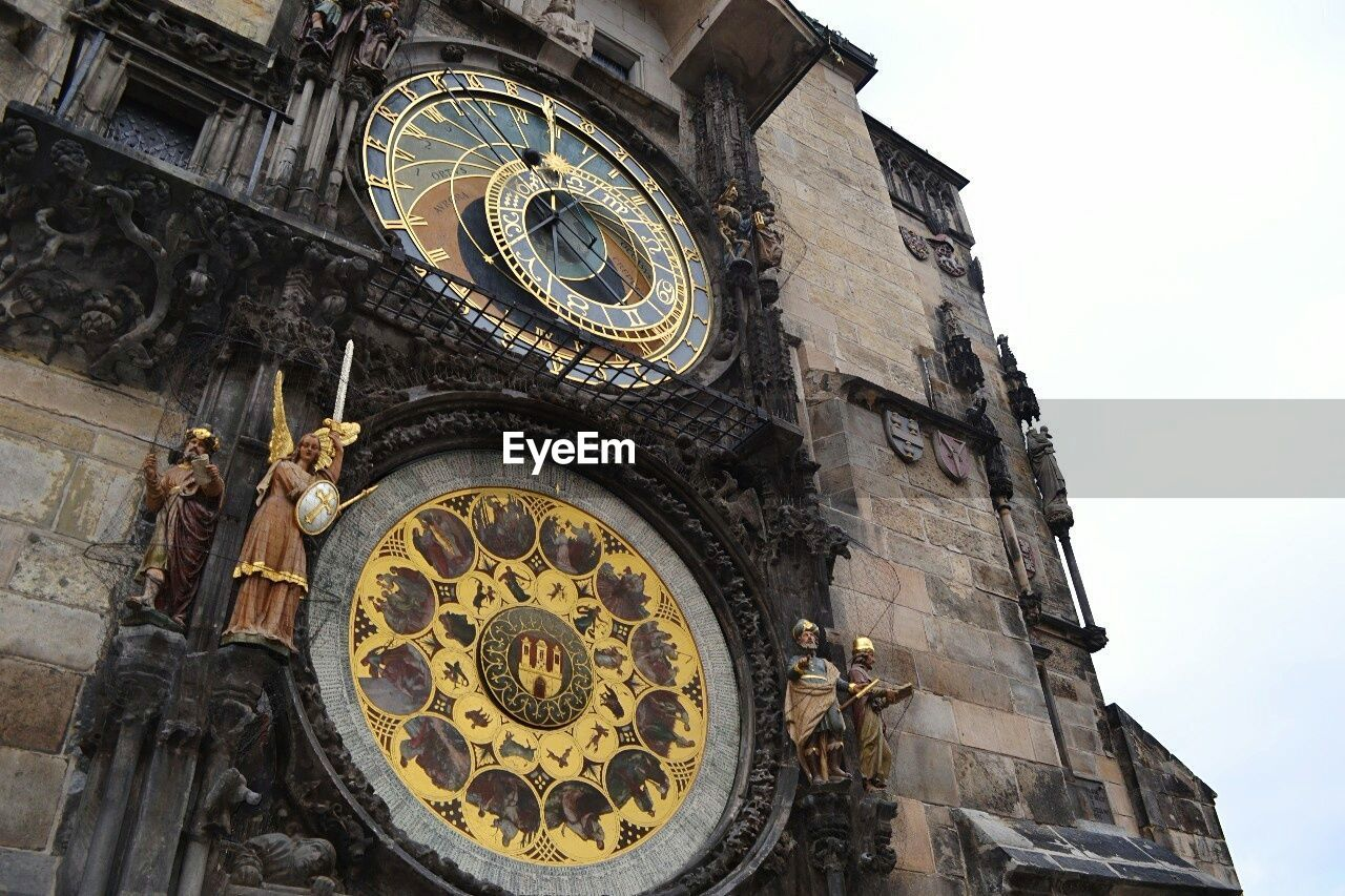 Low angle view of Astronomical Clock on tower