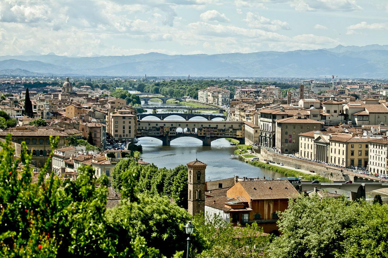 High Angle View Of Ponte Vecchio Over Arno River In City