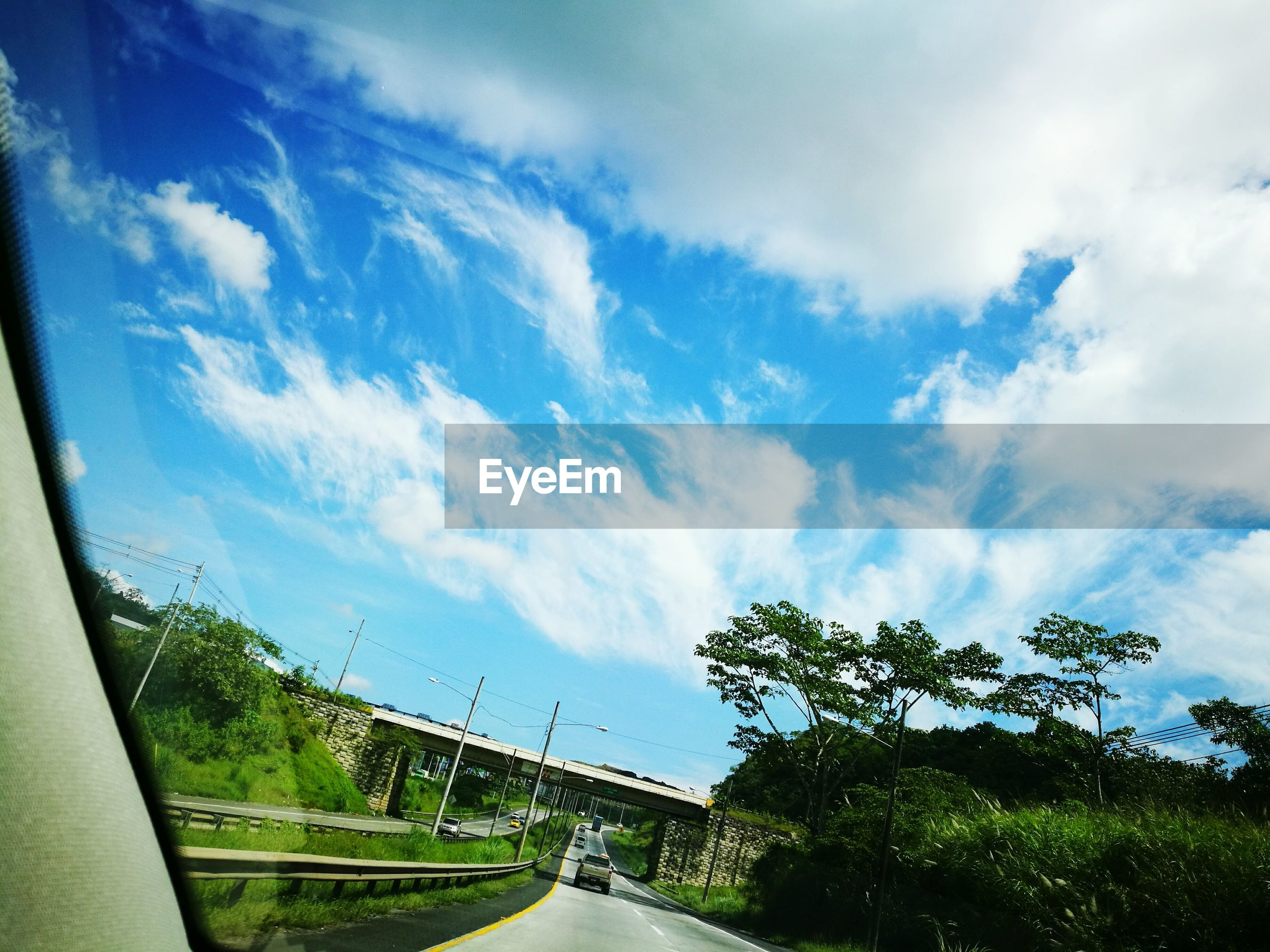 sky, cloud - sky, tree, low angle view, transportation, no people, day, growth, outdoors, nature, architecture