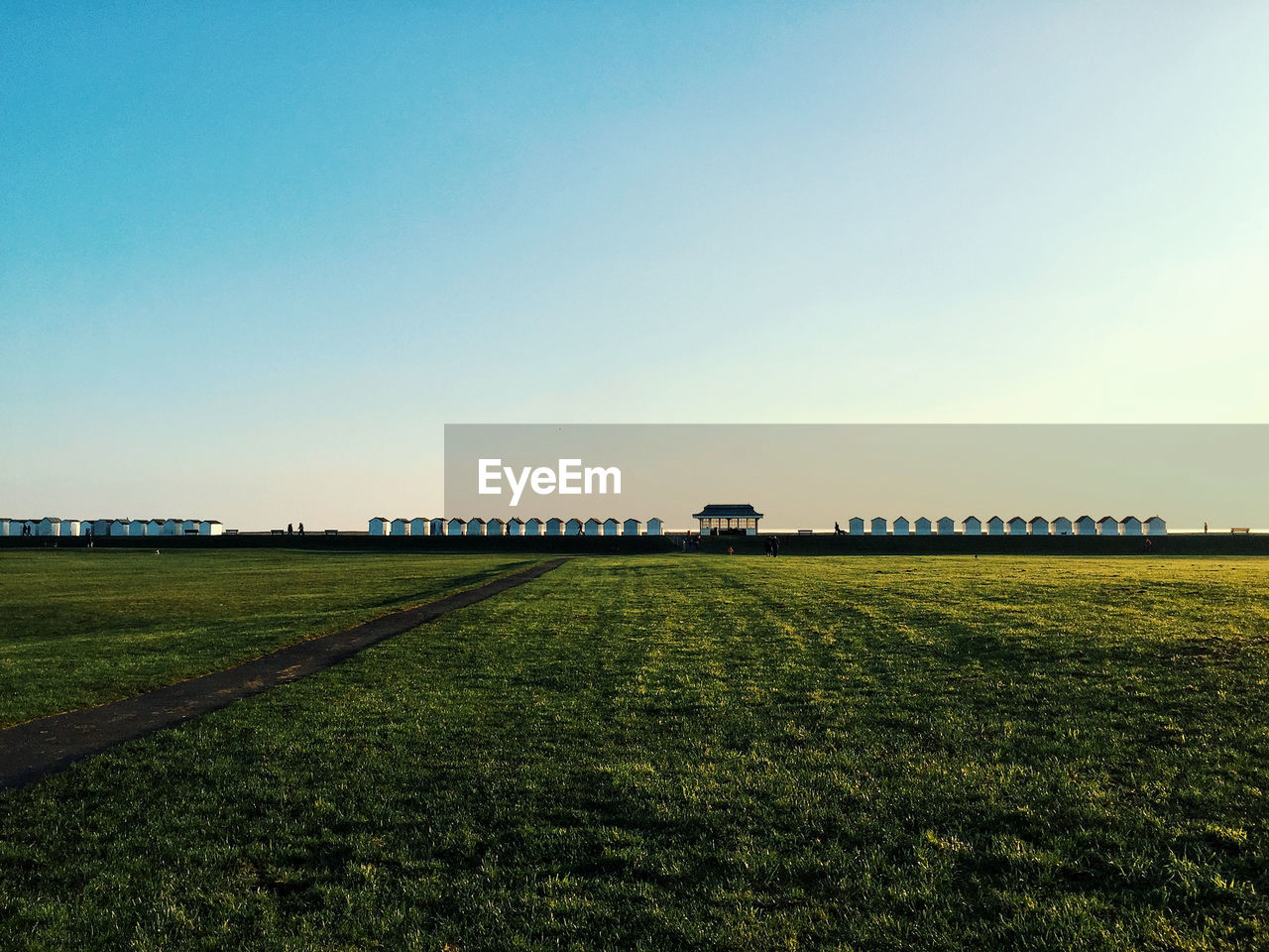 sky, field, land, copy space, landscape, nature, grass, scenics - nature, plant, beauty in nature, environment, tranquil scene, clear sky, agriculture, green color, no people, day, tranquility, outdoors, transportation