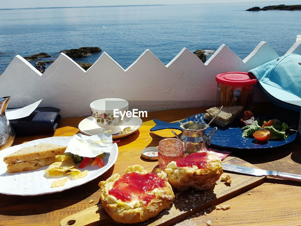 Close-Up Of Breakfast On Table In Restaurant