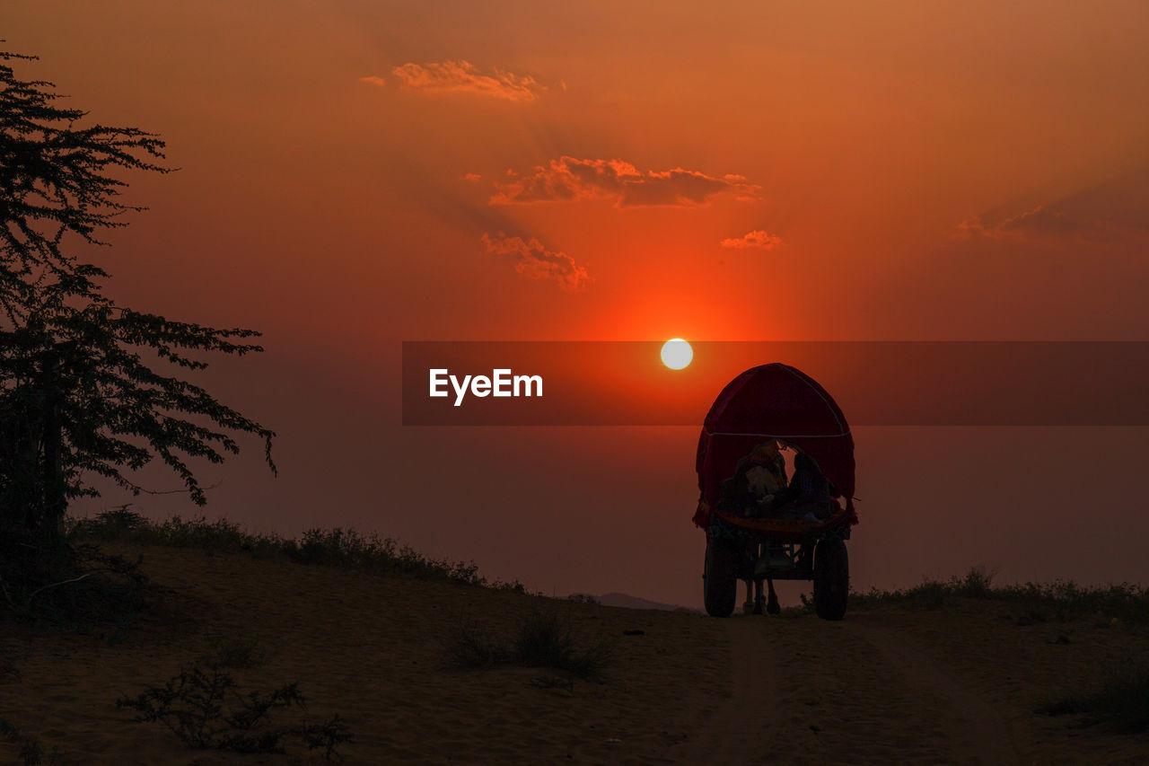 Ox cart at desert against orange sky