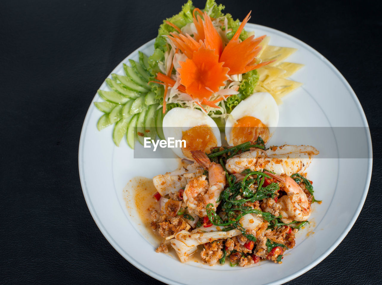 food and drink, ready-to-eat, plate, food, freshness, indoors, healthy eating, still life, serving size, seafood, wellbeing, black background, close-up, table, studio shot, high angle view, no people, crustacean, meat, prawn, garnish, temptation, japanese food
