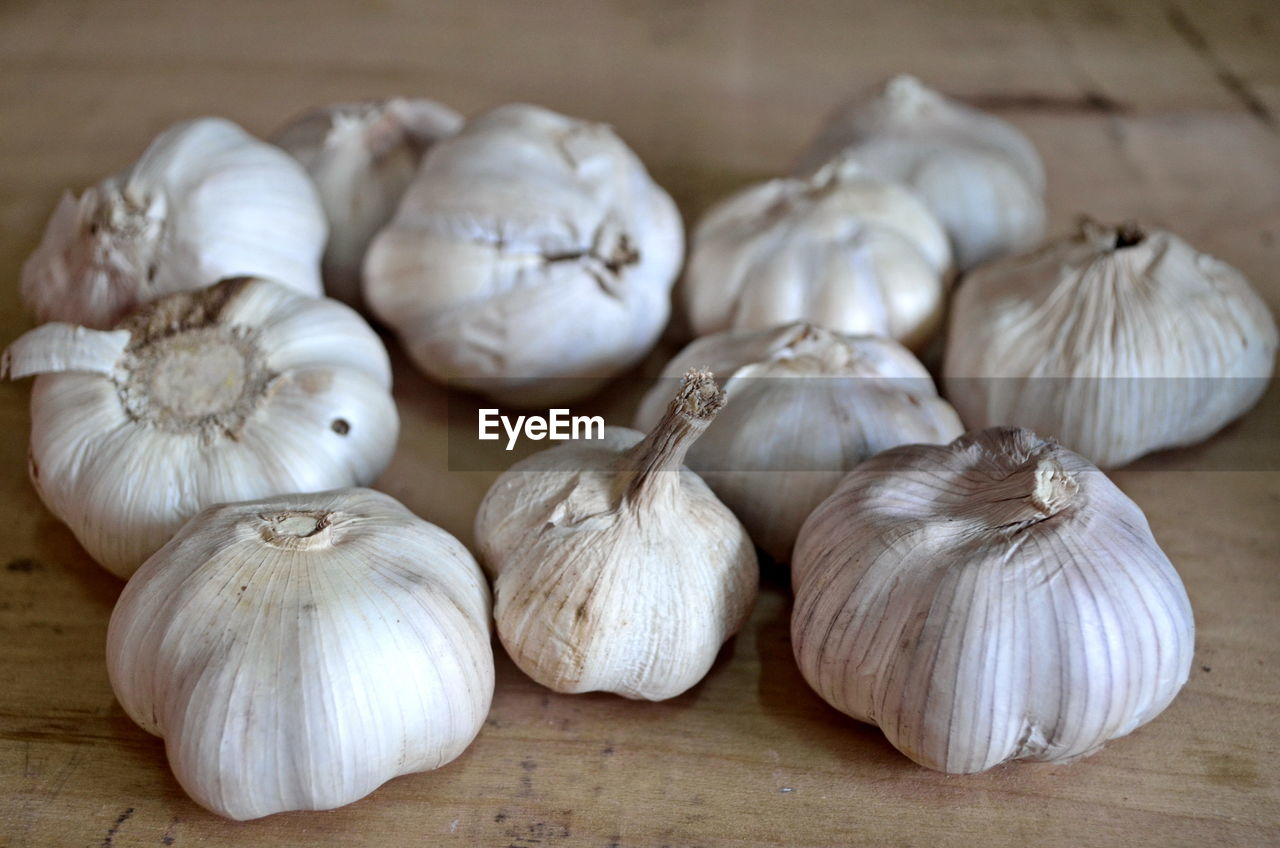 HIGH ANGLE VIEW OF ONIONS ON WHITE TABLE