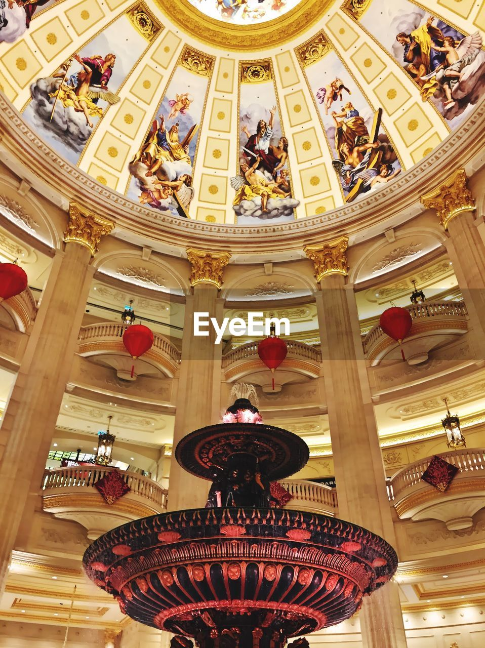 built structure, low angle view, architecture, indoors, ceiling, art and craft, ornate, illuminated, building, architectural column, craft, decoration, no people, travel destinations, pattern, lighting equipment, place of worship, travel, the past, cupola