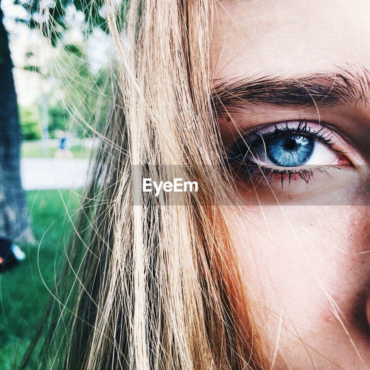 human eye, one person, human body part, close-up, eyesight, real people, eyeball, outdoors, day, iris - eye, eyelash, blond hair, people