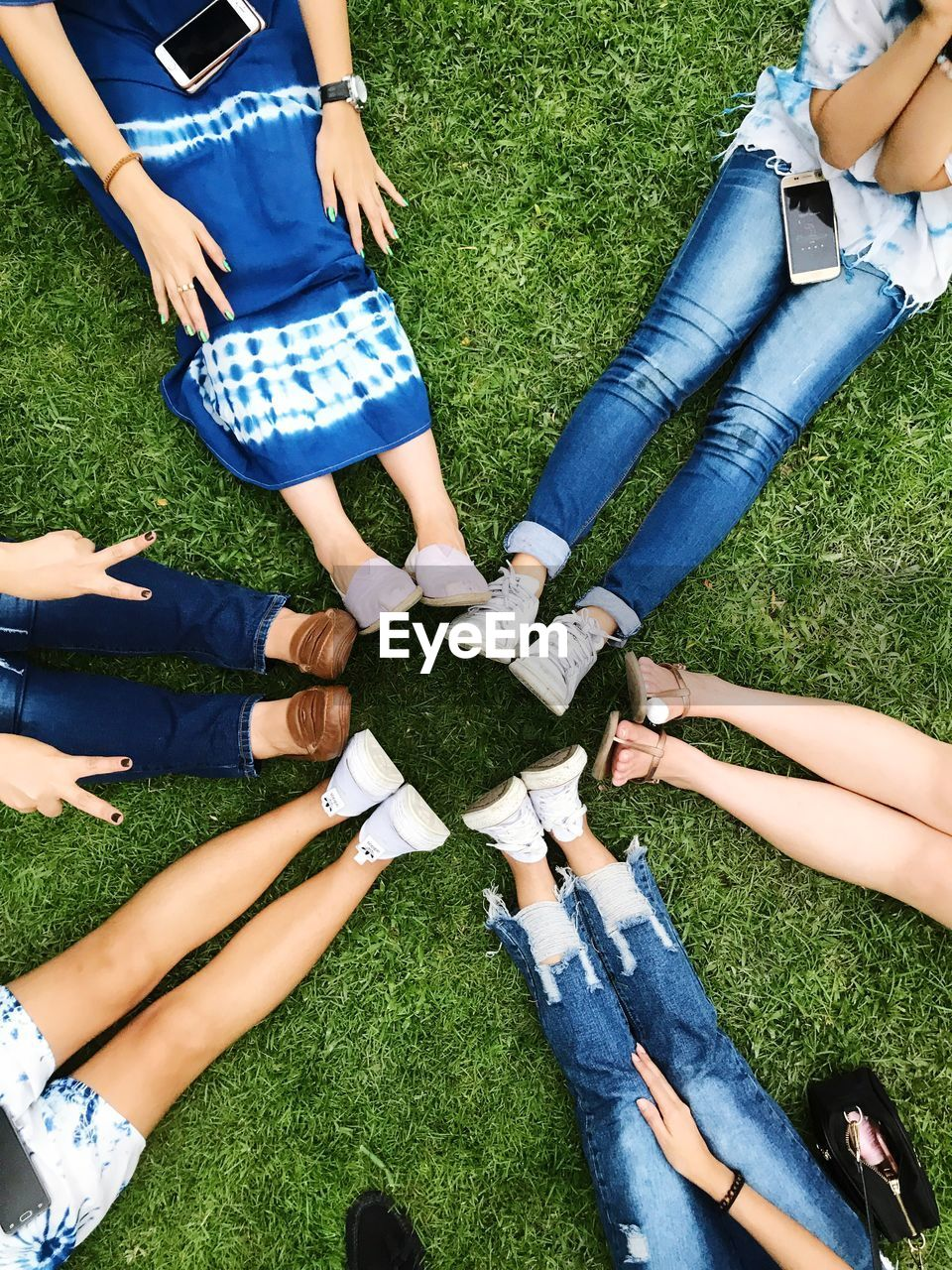 group of people, real people, grass, togetherness, women, friendship, human hand, leisure activity, people, blue, casual clothing, human body part, lifestyles, plant, group, day, high angle view, nature, medium group of people, cooperation, body part, hand, teamwork, finger