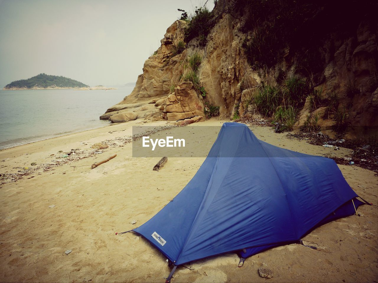 sand, beach, nature, tent, landscape, shelter, tranquility, sea, beauty in nature, no people, mountain, outdoors, day, sky