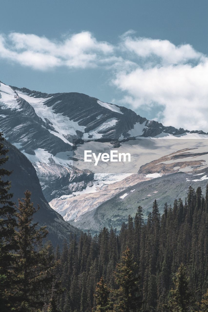 Scenic view of snowcapped/glacier mountains against sky