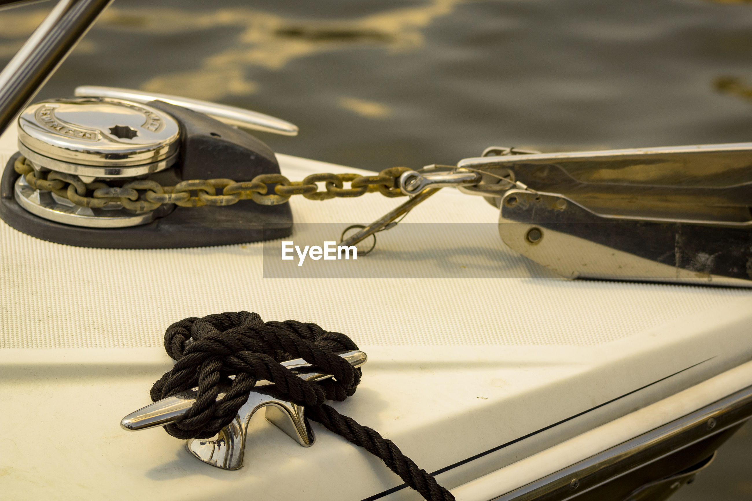 High angle view of ropes tied on yacht