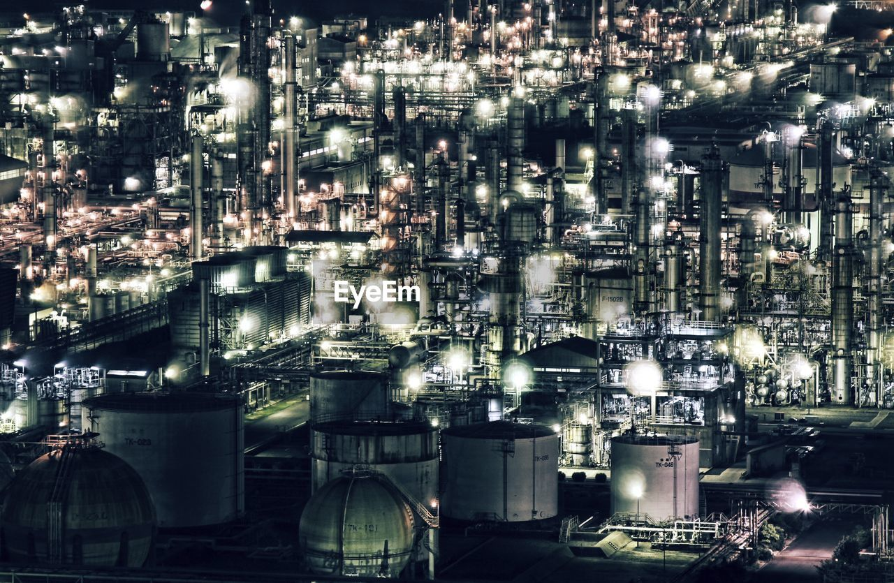 illuminated, night, industry, factory, no people, oil refinery, built structure, architecture, building exterior, smoke stack, distillation, outdoors