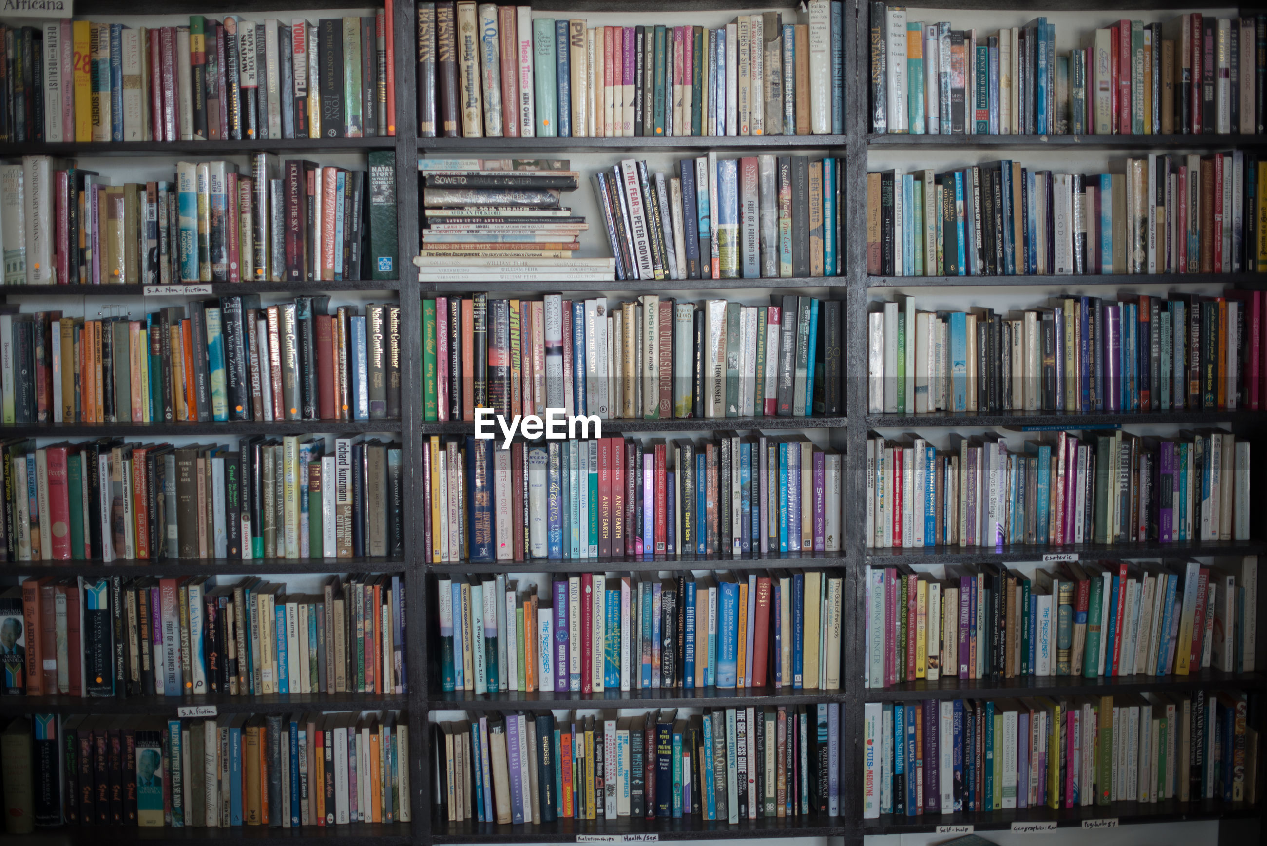 Full frame shot of books in shelf