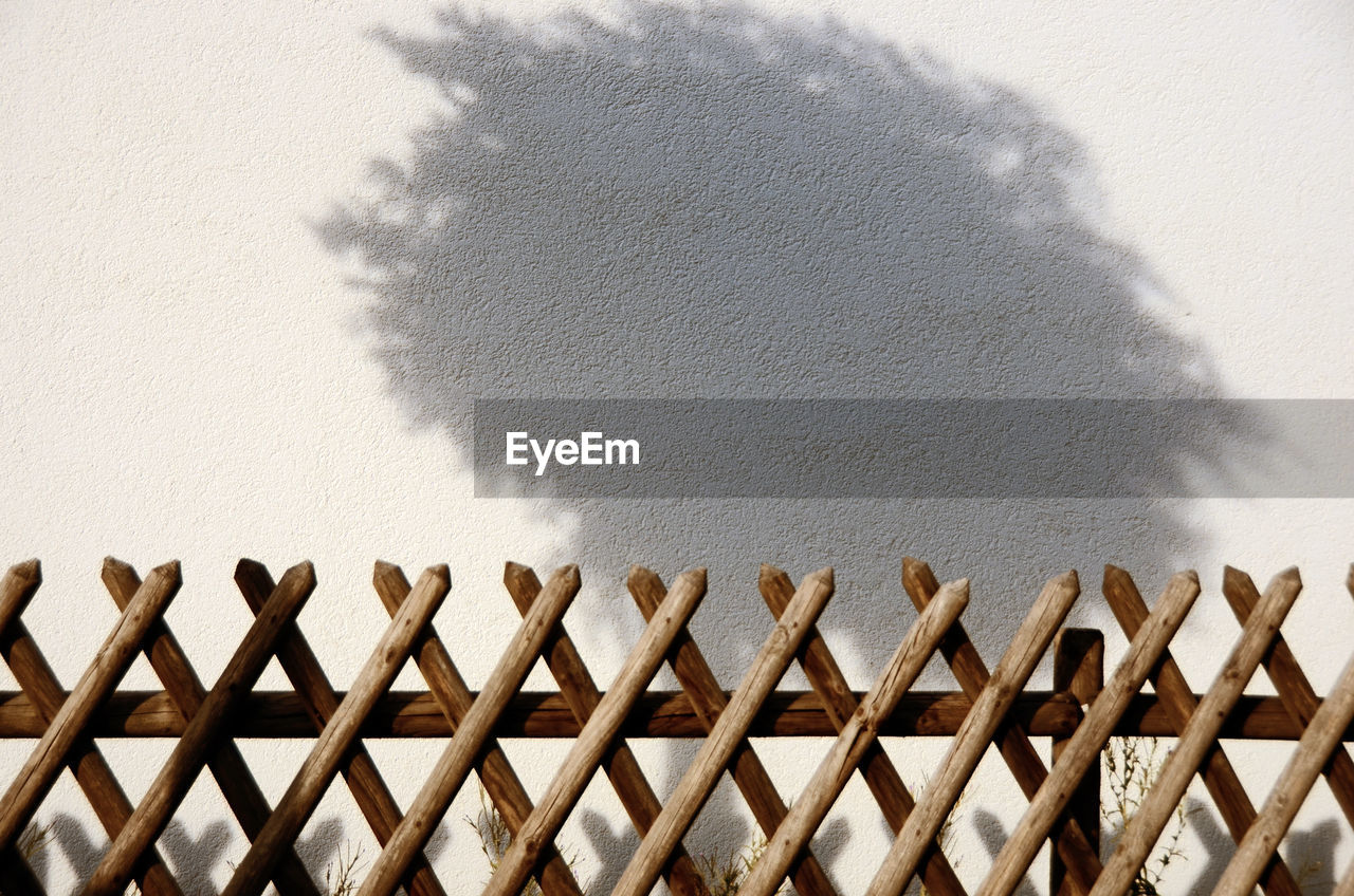 wall - building feature, sunlight, shadow, nature, architecture, no people, day, built structure, wall, wood - material, close-up, outdoors, high angle view, fence, barrier, pattern, absence, boundary, sunny, simplicity, focus on shadow