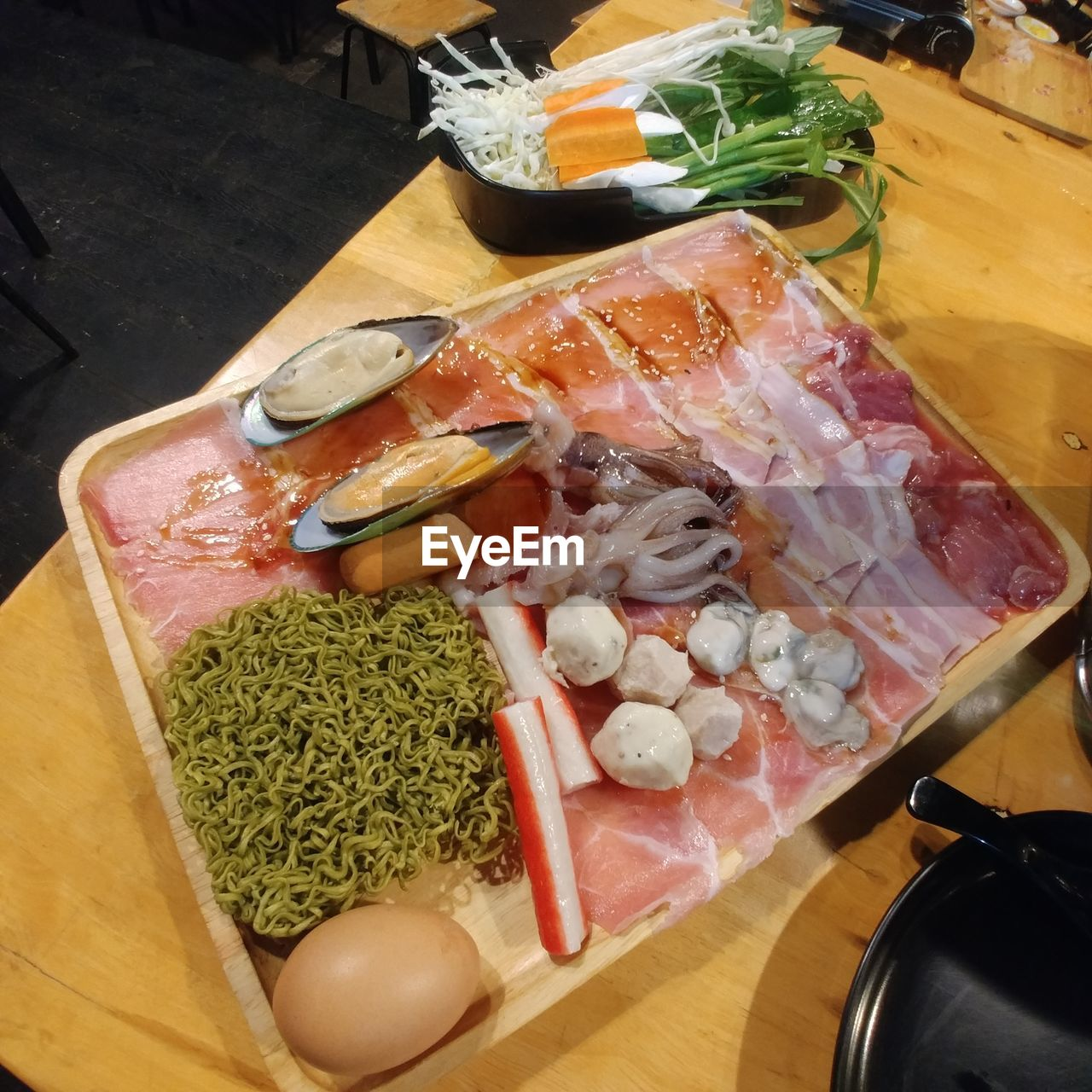 food and drink, food, freshness, indoors, raw food, healthy eating, high angle view, meat, preparation, no people, vegetable, day, close-up