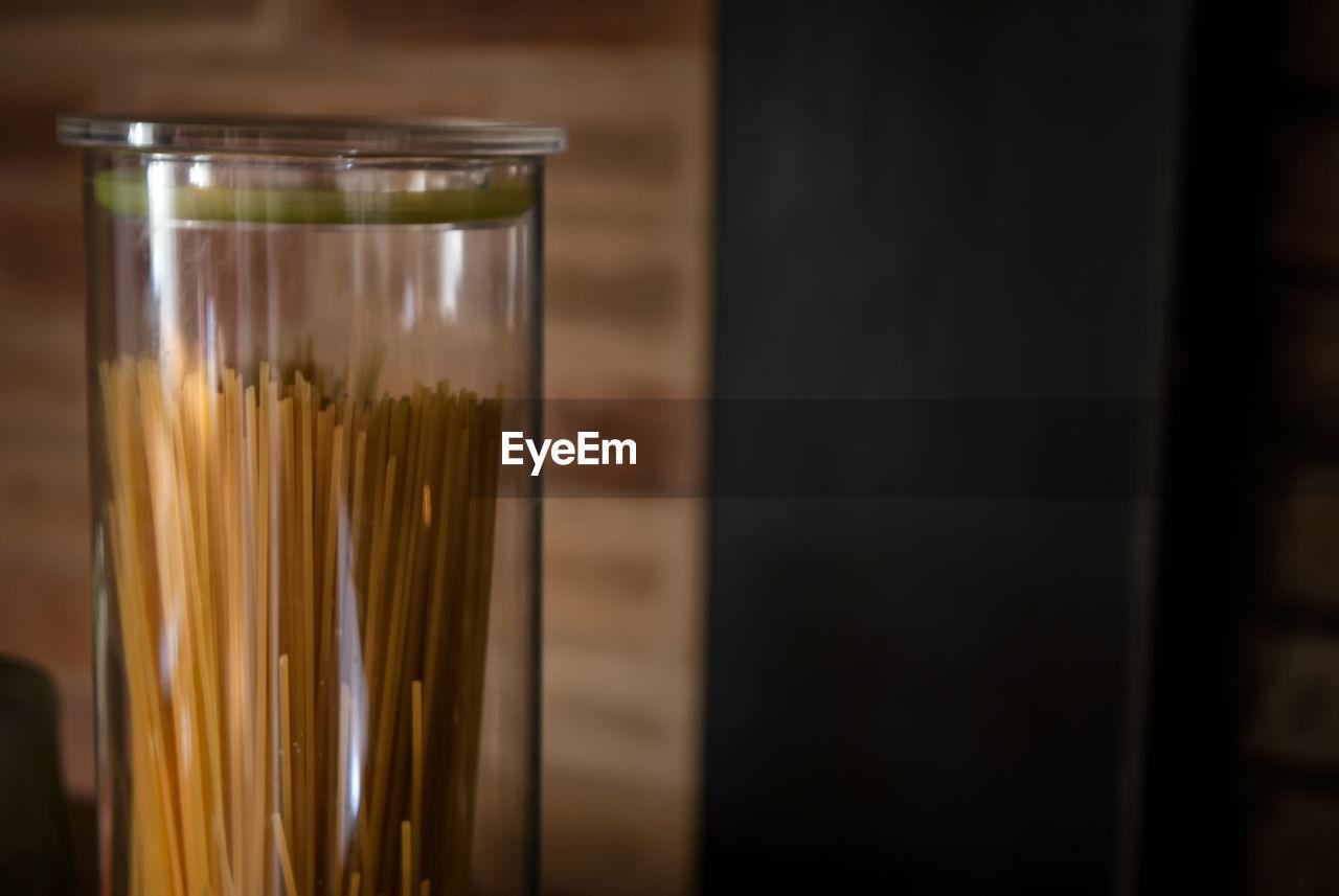 Close up of raw pasta