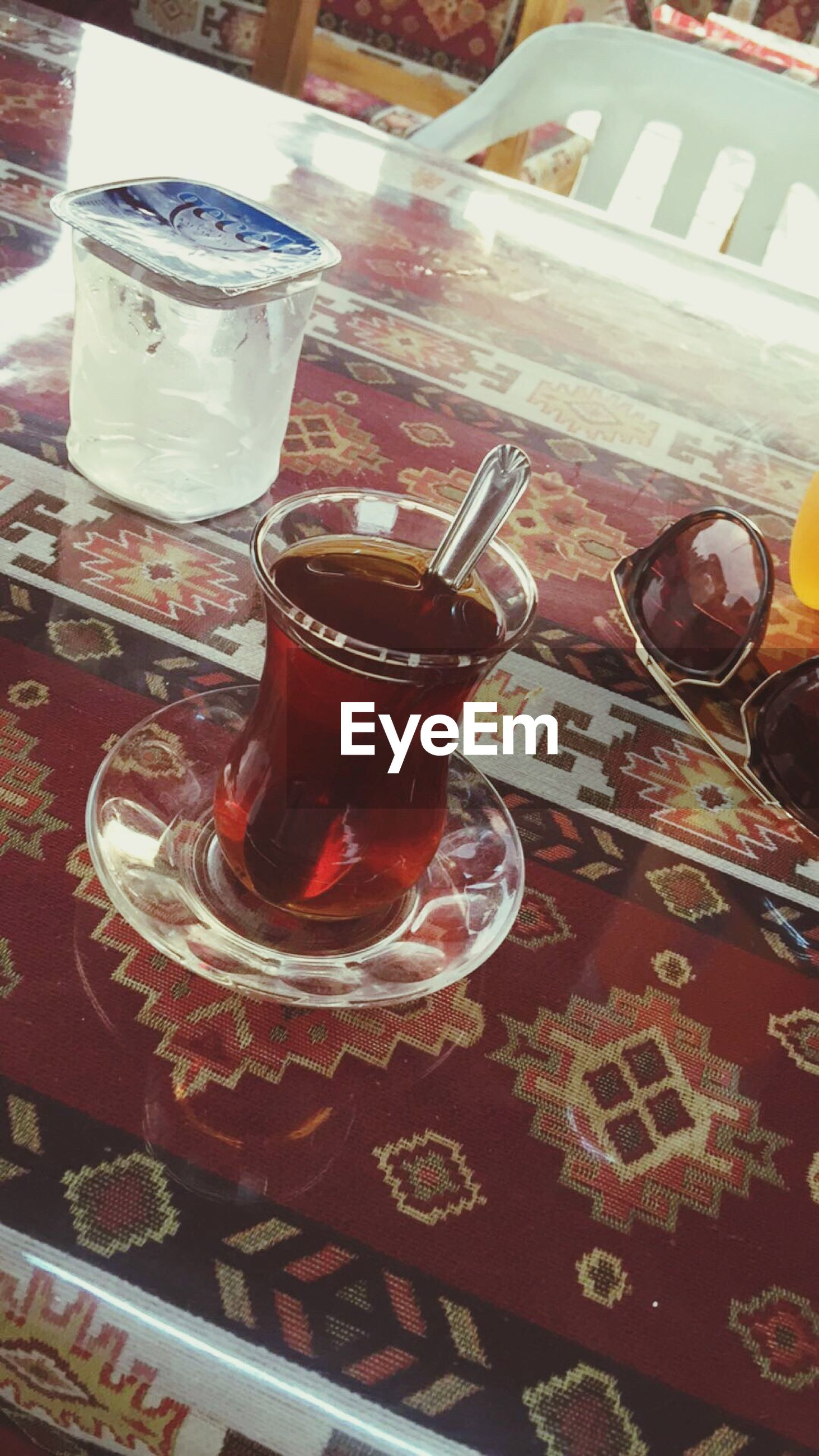drink, food and drink, tea - hot drink, drinking glass, refreshment, high angle view, table, red, indoors, sweet food, no people, freshness, close-up, ready-to-eat, day