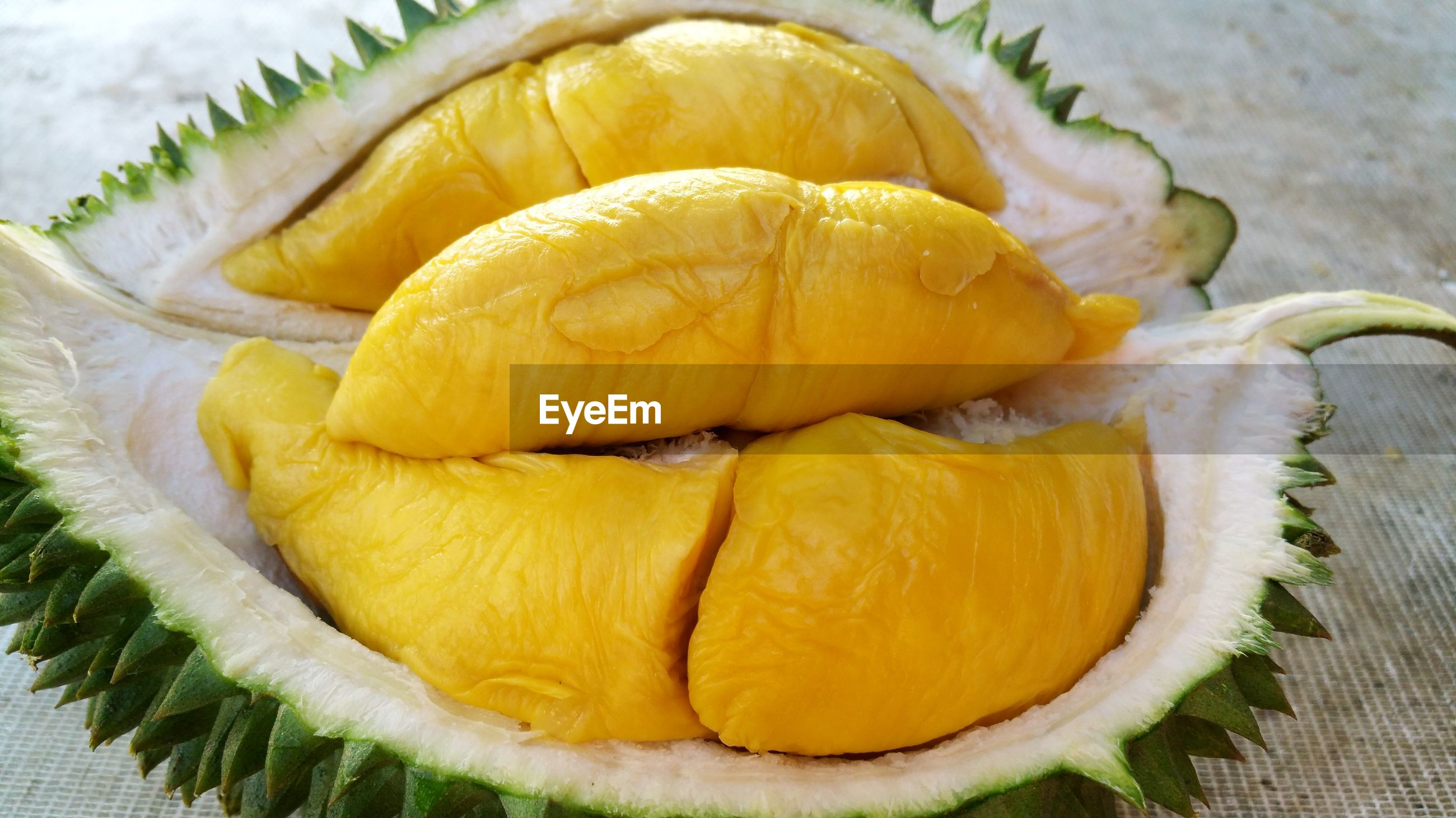 Close-up of sliced durian