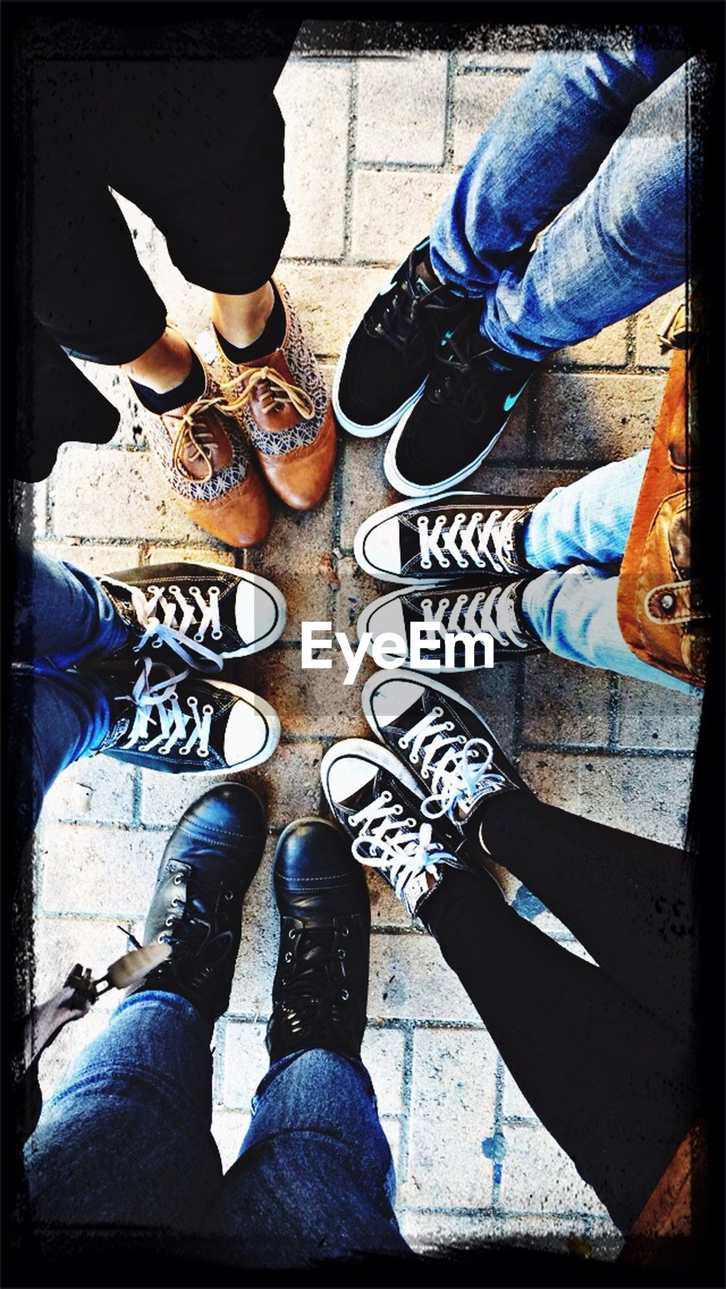 low section, person, shoe, footwear, human foot, jeans, high angle view, lifestyles, men, personal perspective, standing, transfer print, canvas shoe, auto post production filter, leisure activity, casual clothing