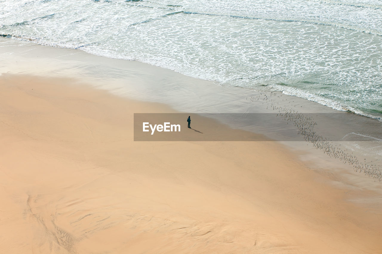 High angle view of person on beach