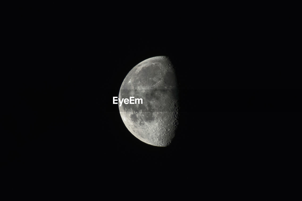 moon, space, astronomy, night, sky, copy space, moon surface, planetary moon, beauty in nature, scenics - nature, tranquility, low angle view, nature, no people, tranquil scene, clear sky, outdoors, idyllic, half moon, dark, full moon, moonlight, space and astronomy