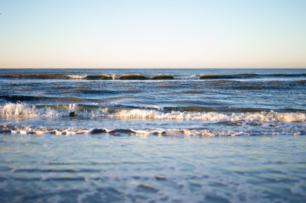sea, wave, nature, beauty in nature, water, scenics, horizon over water, beach, no people, tranquility, sky, outdoors, sunset, blue, clear sky, day