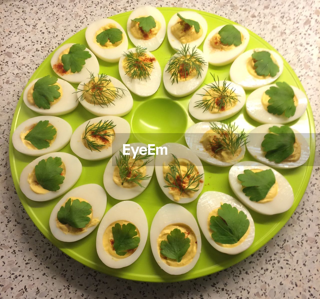 High Angle View Of Egg In Plate On Table