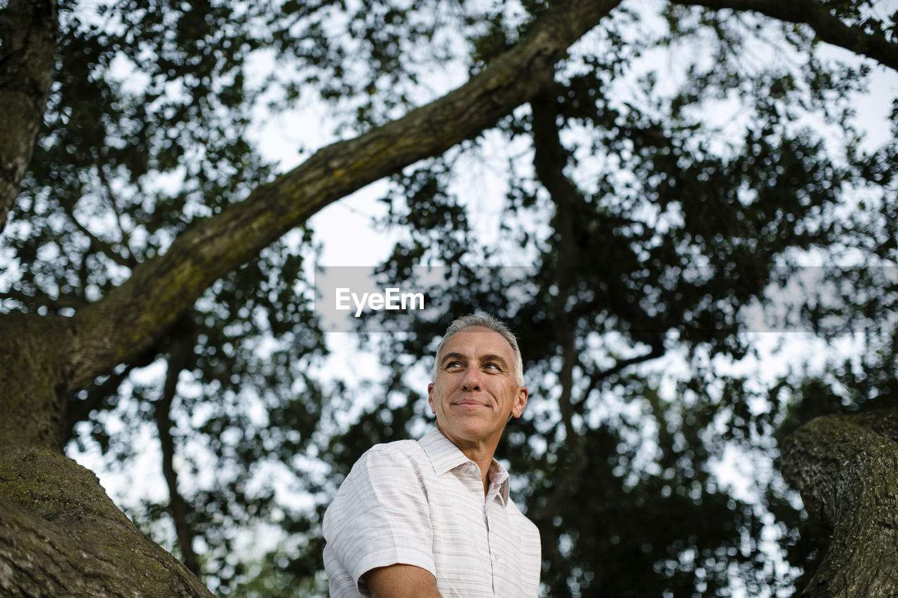 tree, plant, lifestyles, leisure activity, one person, portrait, real people, low angle view, adult, day, trunk, tree trunk, headshot, nature, looking at camera, senior adult, focus on foreground, casual clothing, hairstyle