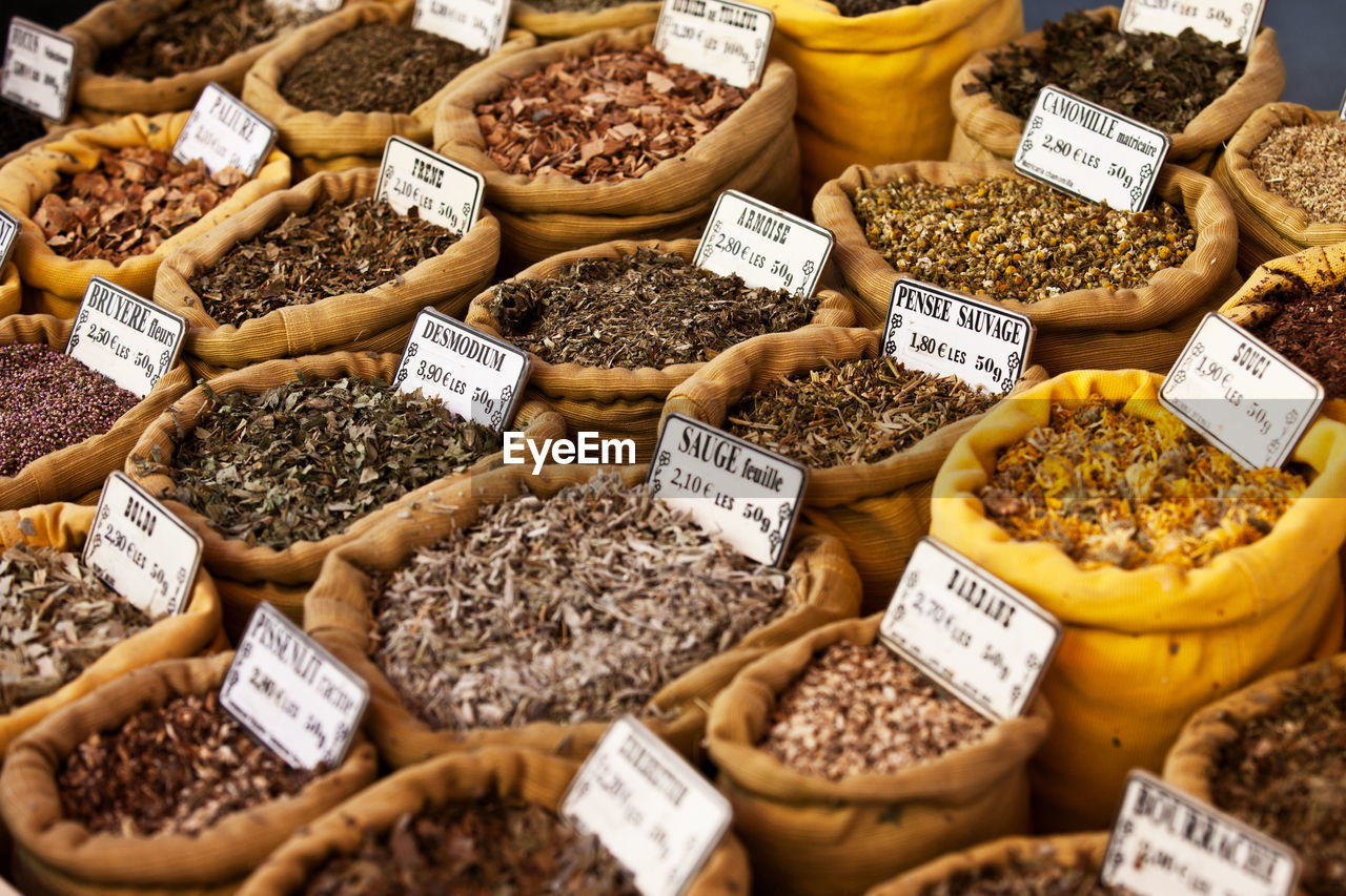High Angle View Of Various Spices Displayed For Sale At Market Stall
