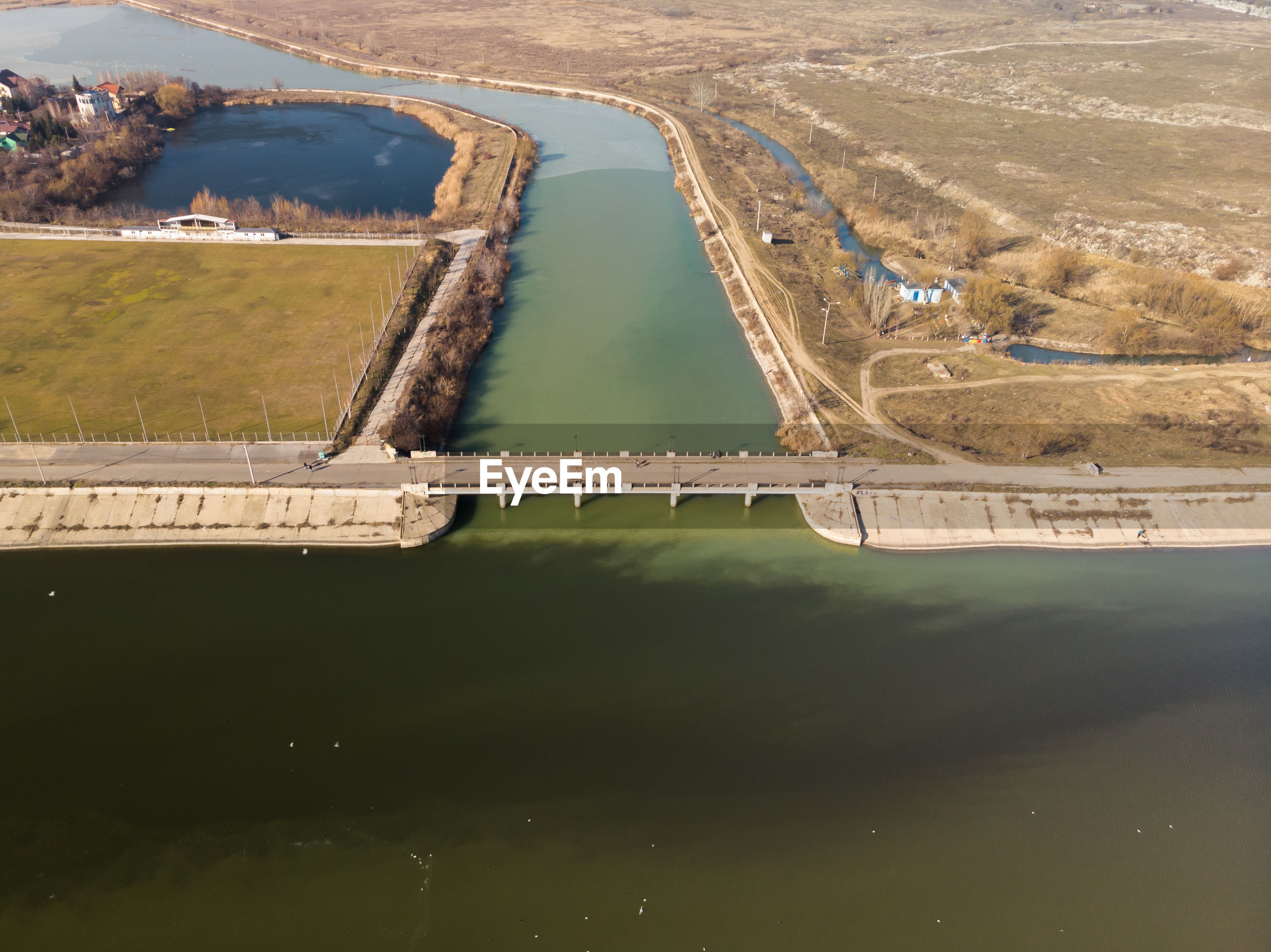 Aerial photo of the old bridge dambovita between dambovita river and morii lake , bucharest, romania