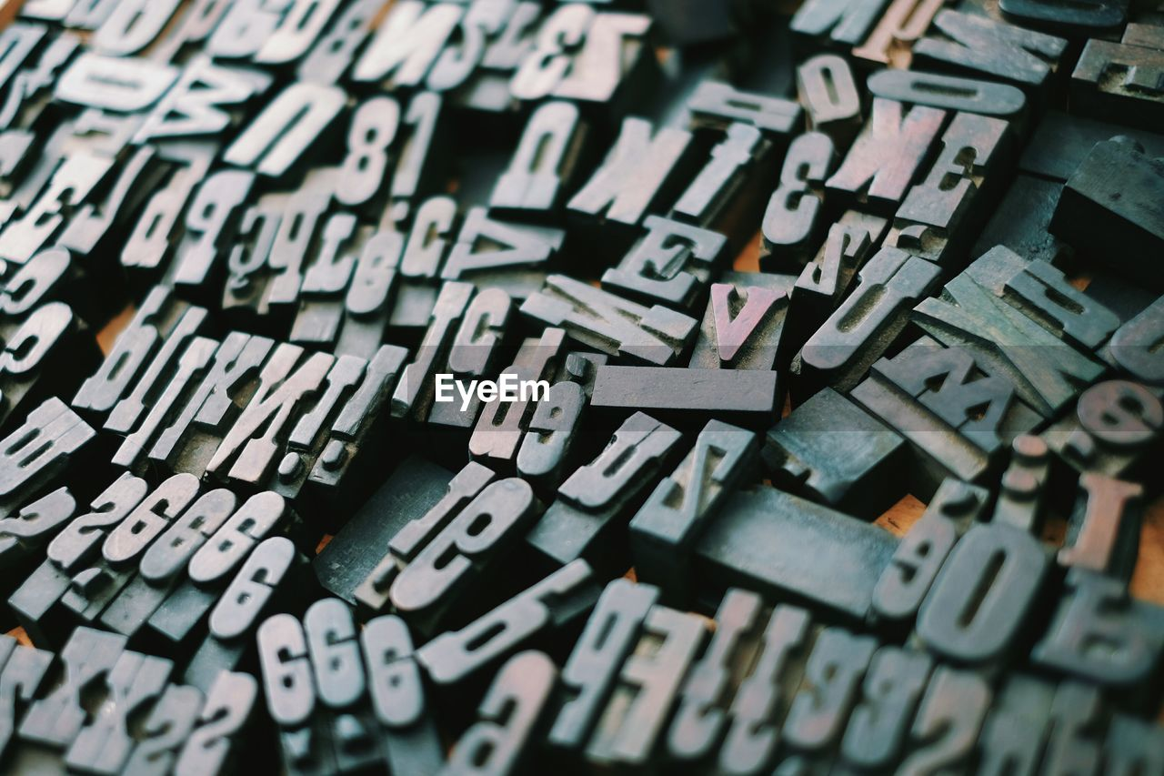 Close-up of fonts