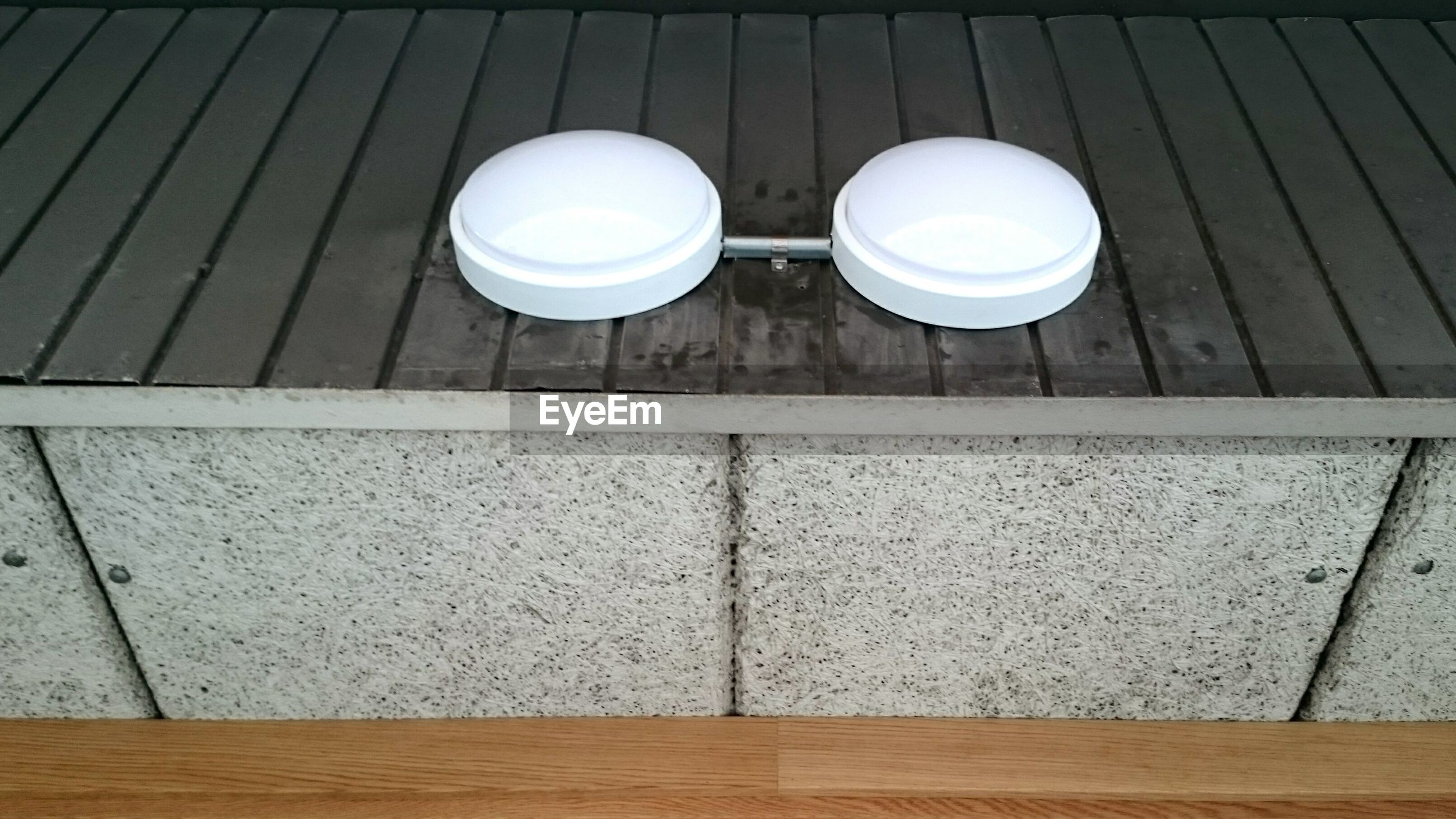 High angle view of lamps on boardwalk